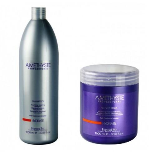 Комплект маска и шампоан за суха и изтощена коса FarmaVita Amethyste Hydrate 1000 ml